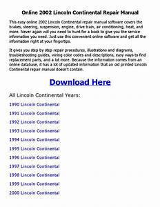2002 Lincoln Continental Repair Manual Online By Johnny