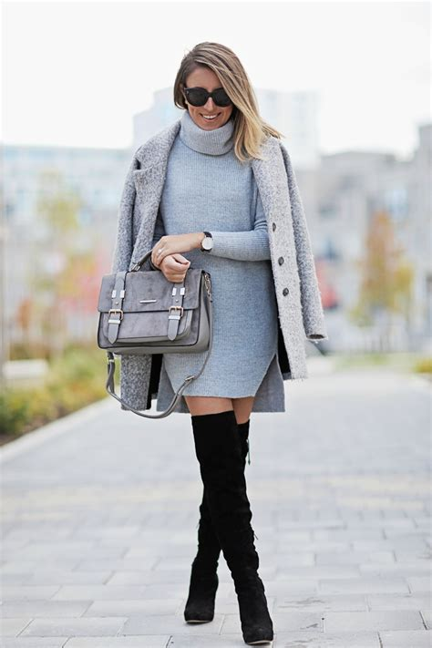 sweater dress outfits cool ways  wear  sweater dress