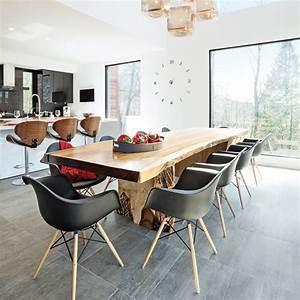 Salle a manger contemporaine et conviviale salle a for Deco cuisine avec chaise contemporaine cuir salle À manger