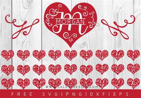 heart monogram  svg png dxf eps  caluya design