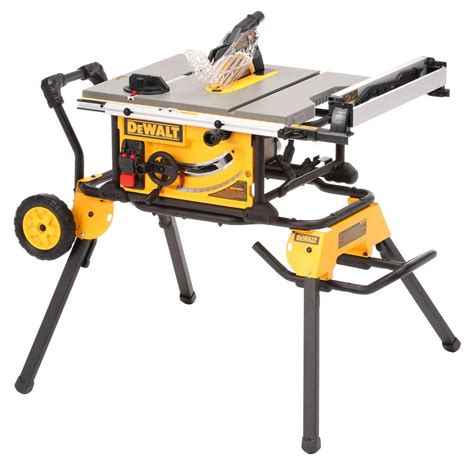 dewalt table saw dewalt 15 amp 10 in site table saw with rolling stand
