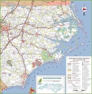 North Carolina coast map with beaches