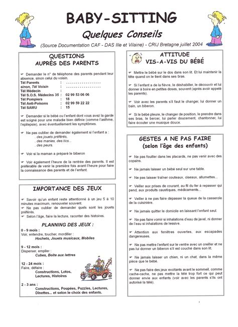 modèle annonce baby sitting word carte d annonce baby sitting