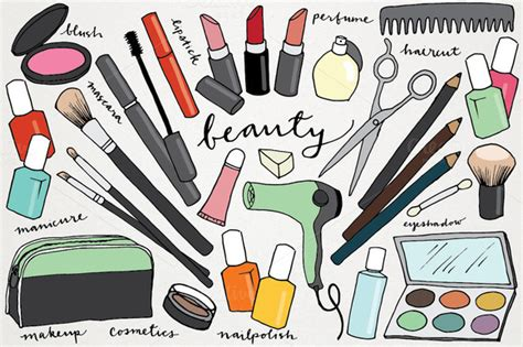 makeup beauty hand drawn clipart illustrations