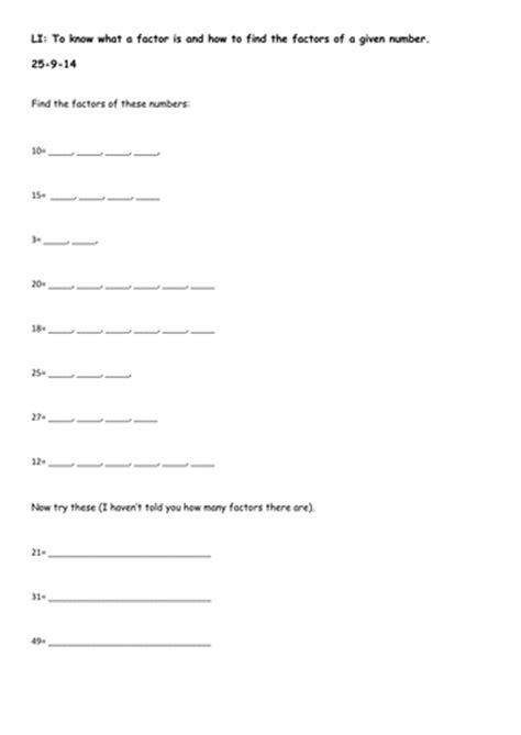 3 differentiated worksheets finding factors by harriet1987