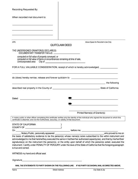 quit claim deed forms templates  template