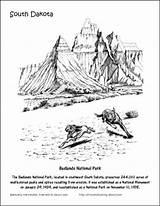 Coloring Park National Canyon Bryce Designlooter Badlands Dakota Printables South sketch template