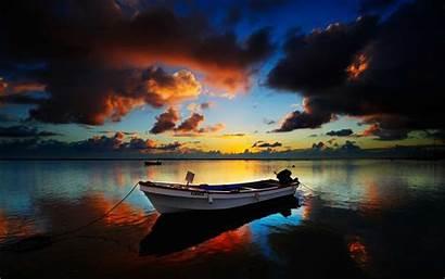 Boat Wallpapers Sunset Ship Desktop Rowing Landscape