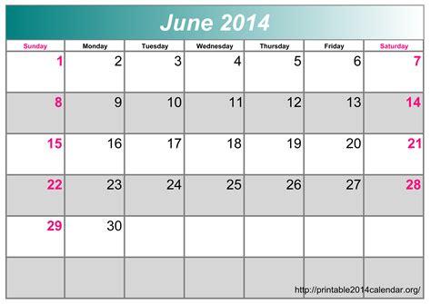2014 June Calendar Template Costumepartyrun