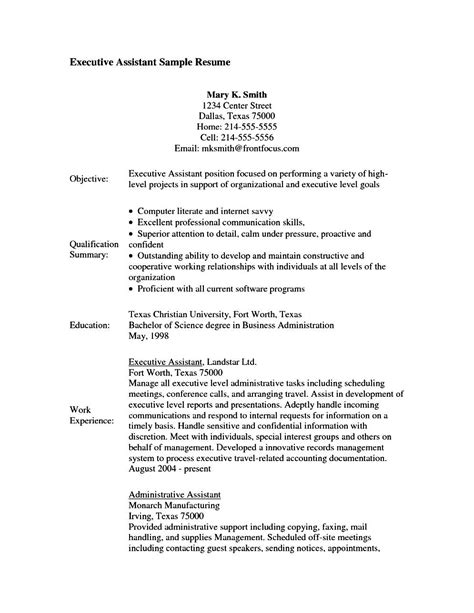 executive assistant resume objective free sles