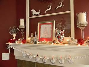 White, Silver, And, Red, Christmas, Mantel