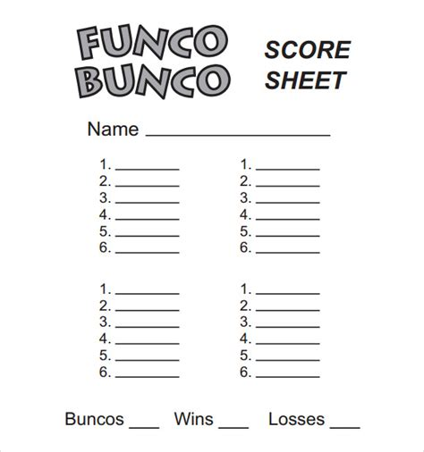 sample bunco score sheets templates  google
