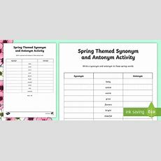 Spring Themed Synonym And Antonym Worksheet  Activity Sheet