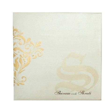 Stylish Indian Wedding Card With Emboss Designed Motifs