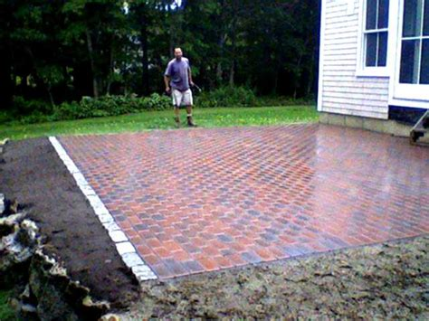 cost for brick patio brick paver patio cape cod s hydroseeding and landscape costs and photos