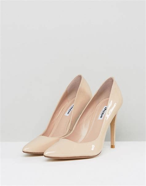 Dune Aiyana Nude Leather Heeled Shoes In Pink Lyst