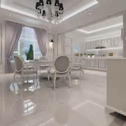 White Ceramic Tile Kitchen Floors