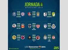 Fechas y horarios de la jornada 8 del Apertura 2017 de la