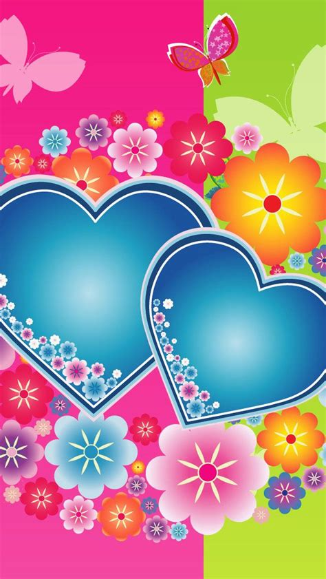 Scroll down the list, find out the colorful heart live wallpaper and setup it. Colorful Hearts Flowers Butterflies iPhone Wallpaper   Papper