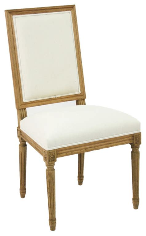 louis side chair oak with white linen