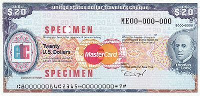 SPECIMEN USA 20 USD THOMAS COOK TRAVELERS CHECK TRAVELLERS ...