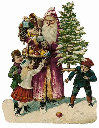 Victorian Santa Cut Clipart Retro Glanzbilder Holiday