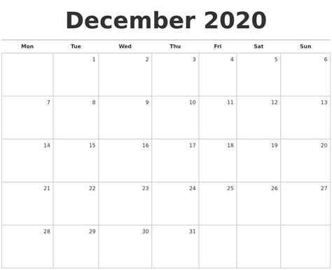 december  blank monthly calendar
