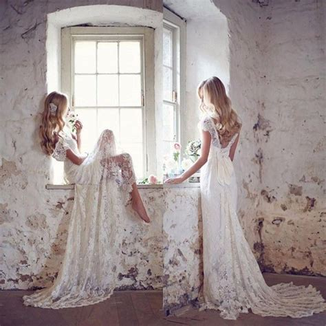 Robe De Mariage White Lace Backless Boho Wedding Dresses