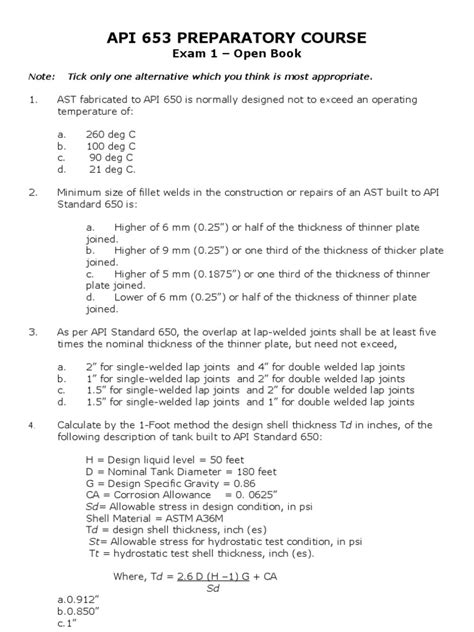 API 653 Questions-1 | Welding | Mechanical Engineering