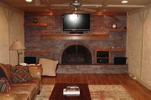 barn wood floating shelf on large slate stone wall for With kitchen cabinets lowes with wall art ideas living room