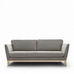 Canape 3 places tissu et pieds bois calo by modalto drawer for Tapis exterieur avec canapé vintage 2 et 3 places aghzu