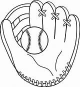 Baseball Mitt Clip Line Coloring Colorable Printable Sweetclipart sketch template