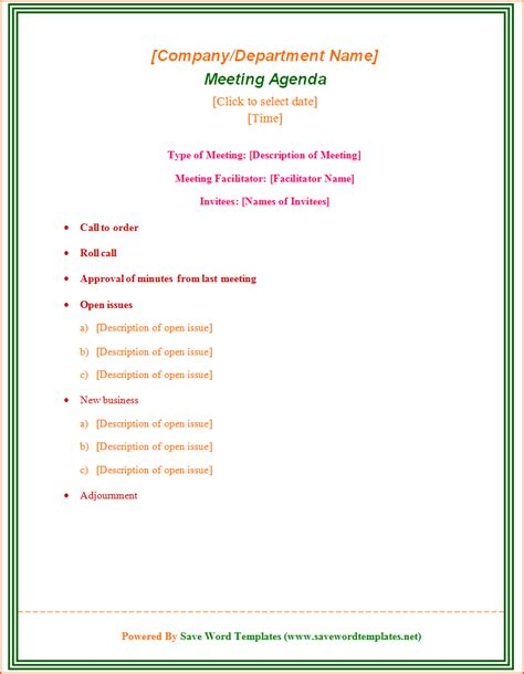 Meeting Agenda Template 7 Free Meeting Agenda Template Bookletemplate Org