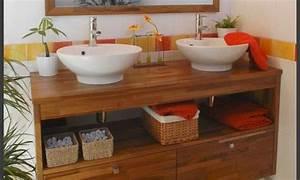 Meuble Salle De Bain Zen : meuble salle bains zen bois manguier mon rdv habitat ~ Teatrodelosmanantiales.com Idées de Décoration