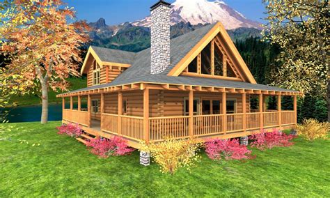 log cabin floor plans  wrap  porch log cabin