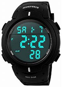 Buy SKMEI Men's Simple Design Digital LCD Screen Black ...