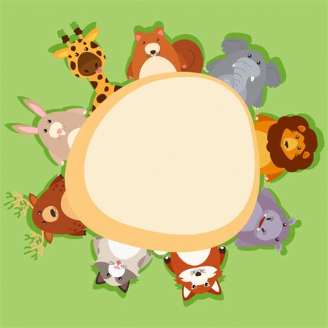 border template  cute animals  green background