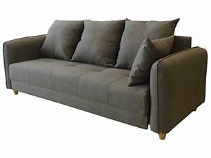 Canapé Tissu Gris : canape fixe tissu aden 3 places gris 69723 ~ Teatrodelosmanantiales.com Idées de Décoration