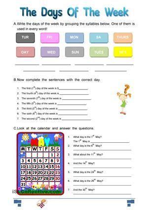 questions  days   week esl worksheets