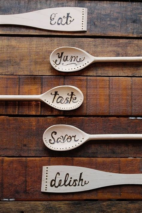 wood burning kitchen spoons     spoon