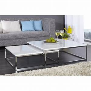 Table Basse Blanche Design : table de salon contemporaine table basse bois metal maisonjoffrois ~ Teatrodelosmanantiales.com Idées de Décoration