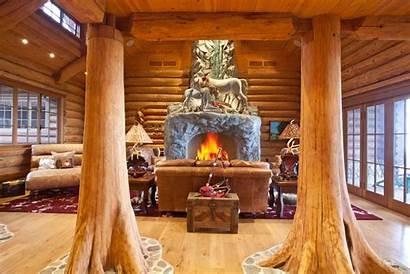 Fireplace Interior Wooden Fire Pillars Column Tower