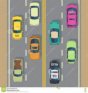 Highway Traffic With Top View Cars And Trucks Street ...