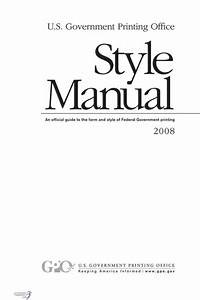 U S  Government Printing Office Style Manual  2008  An