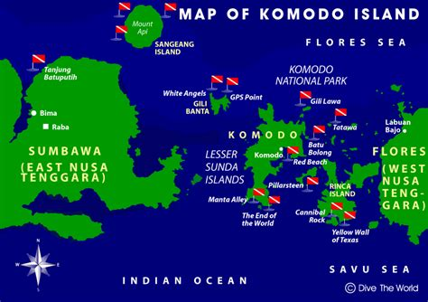 komodo island map sumbawa flores dive  world indonesia