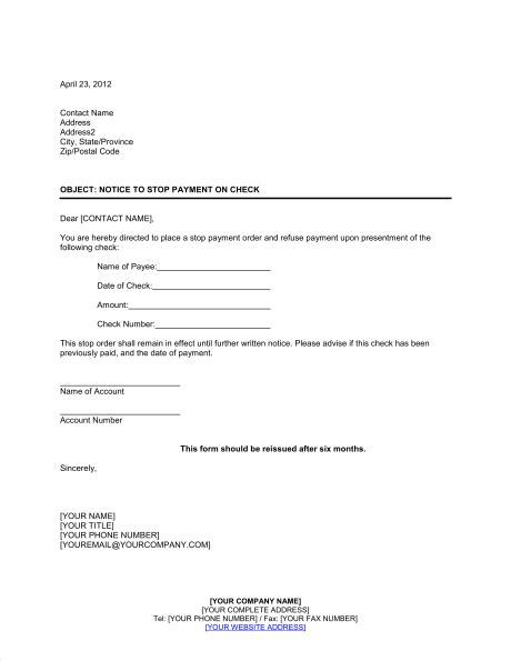 notice  bank  stop payment  check template