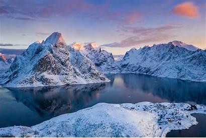 Snow Mountains Winter Norway Mountain Lofoten Wallpapers