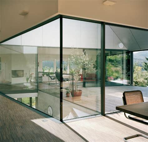 horizontal house  switzerland  interior courtyard modern house designs