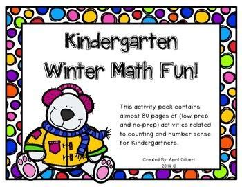 winter math fun  kindergartners  images fun