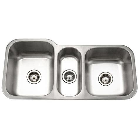 three bowl kitchen sink houzer medallion gourmet undermount stainless steel 40 in 6105
